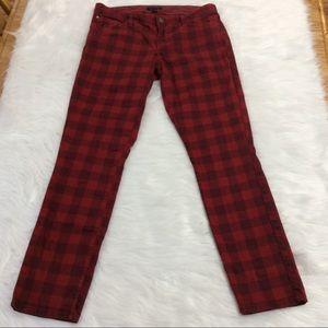 Tommy Hilfiber Red Buffalo Plaid Skinny Jeans Sz 8